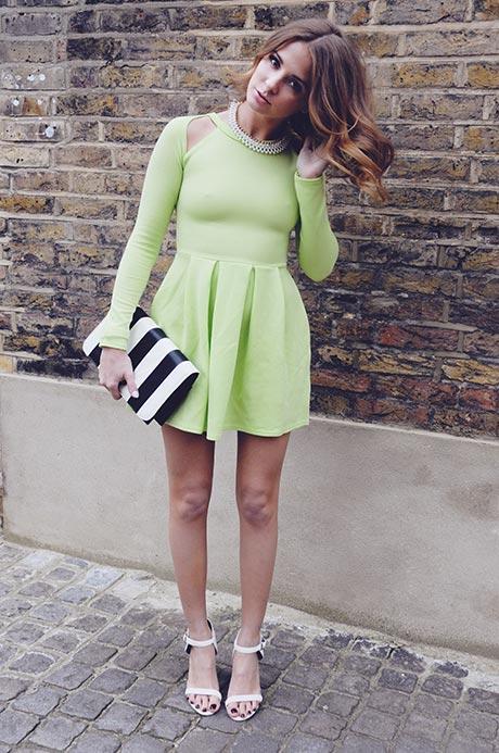 Dress, Neon Green, Lime Green, Long Sleeve, Made In Chelsea, MIC, Millie Mackintosh, Dress, Missguided, Neon, Skater Dress