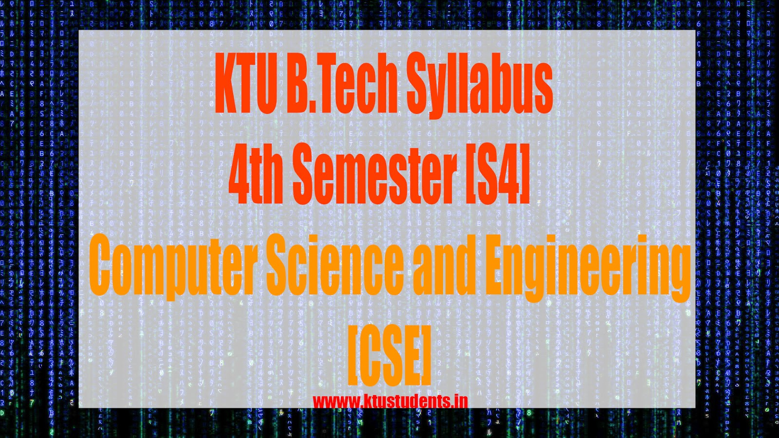 S4 Syllabus Computer Science and Engineering [CSE] | KTU Students
