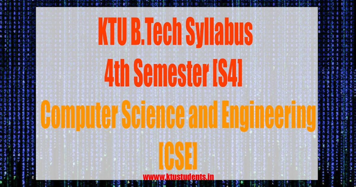 S4 Syllabus Computer Science And Engineering Cse Ktu Students Engineering Notes Syllabus Textbooks Questions