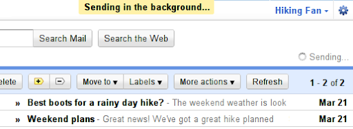 Google Mail Labs: Send in Background