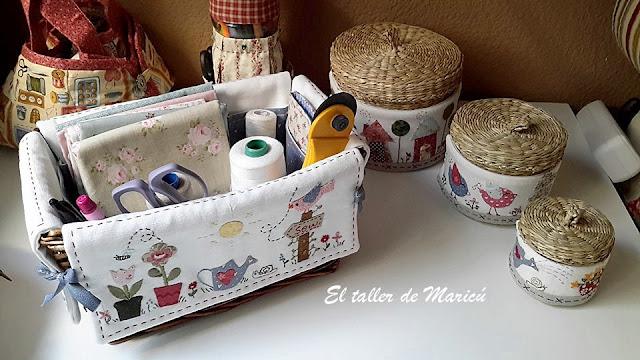 El taller de maric cesta costurero de mimbre - Como forrar una cesta de mimbre ...