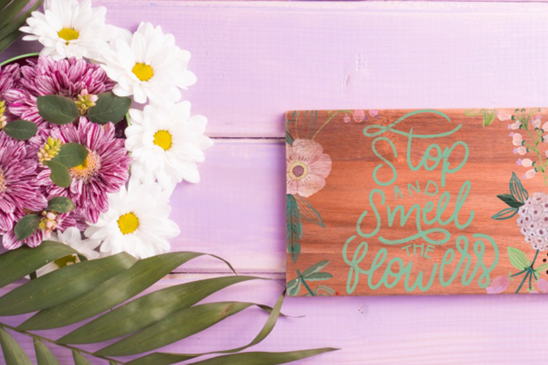 Wooden Board Floral Decoration Mockup