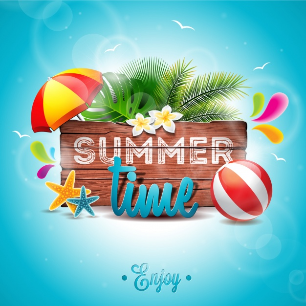 Summer time background palm tree design Free Vector
