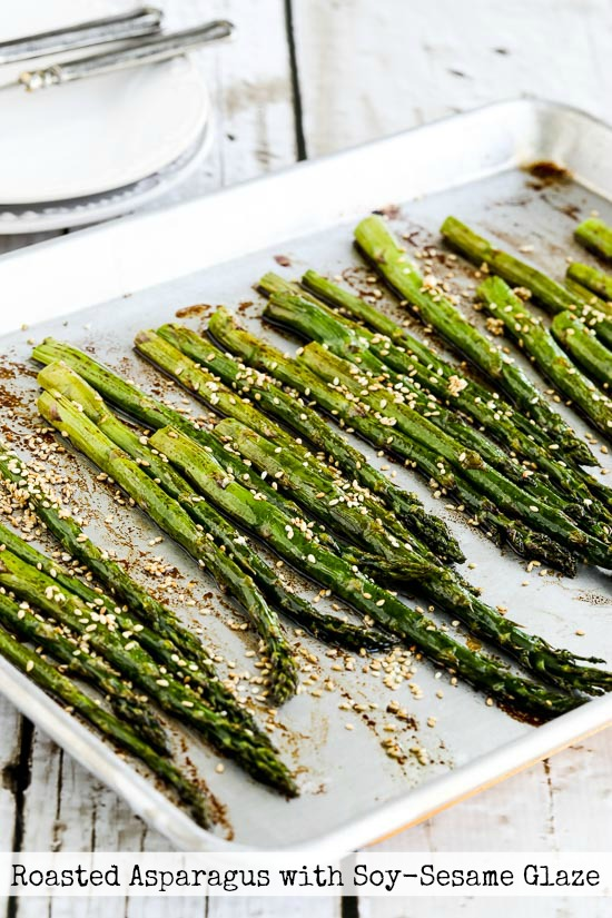 Roasted Asparagus with Soy-Sesame Glaze found on KalynsKitchen.com.