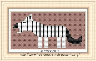 Zebra, Free and easy printable cross stitch pattern
