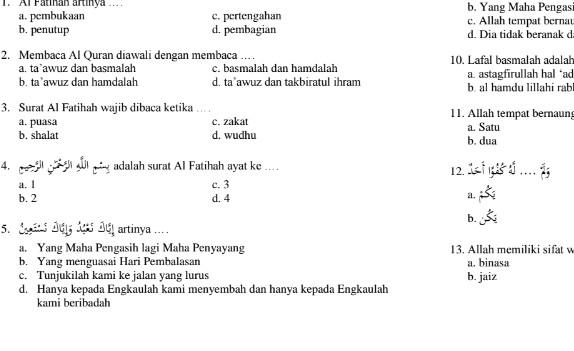Soal UTS Ganjil SD Kelas 4 PAI (Pendidikan Agama Islam)