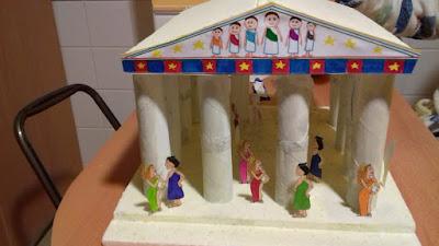 templo griego, manualidad escolar,