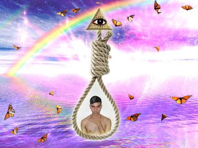 Arte surrealista contemporaneo realizado en photoshop, inspirado en el suicidio, los illuminati, el MK Ultra programa de control mental Monarcha Programming realizado con mariposas monarcas.