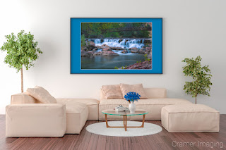 Photograph of Cramer Imaging's fine art photograph 'Untouched' on the wall of a comfortable living room setting