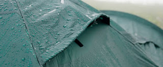 Tent fly with rainwater droplets