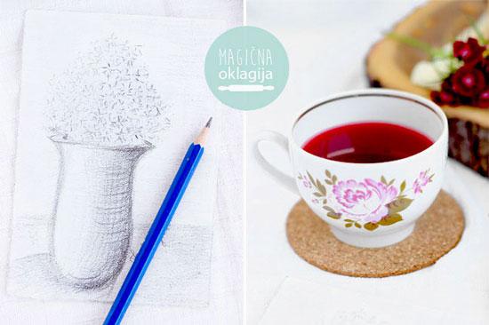 Crtež i čaj uz mrvljenu pitu sa višnjama