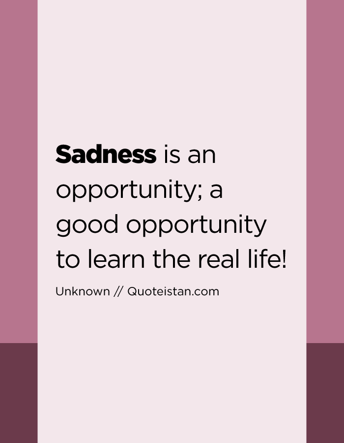 Sadness is an opportunity; a good opportunity to learn the real life!