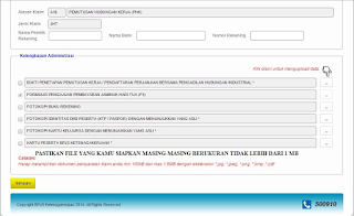 File upload document bpjs ketenagakerjaan
