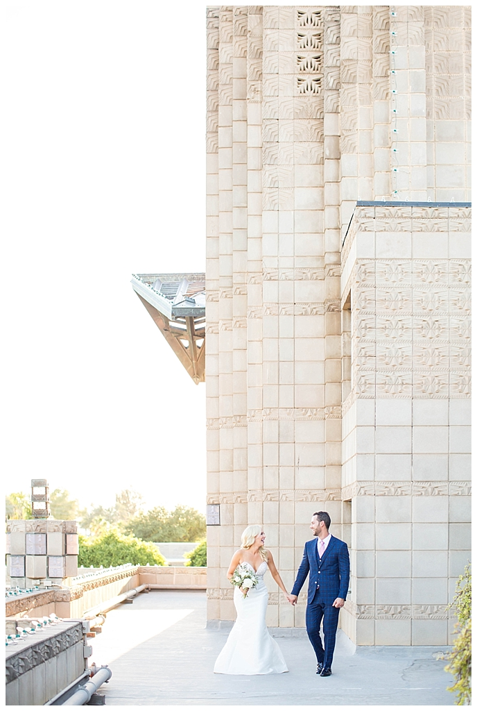 elegant bride and groom on the historic Phoenix Arizona Biltmore rooftop