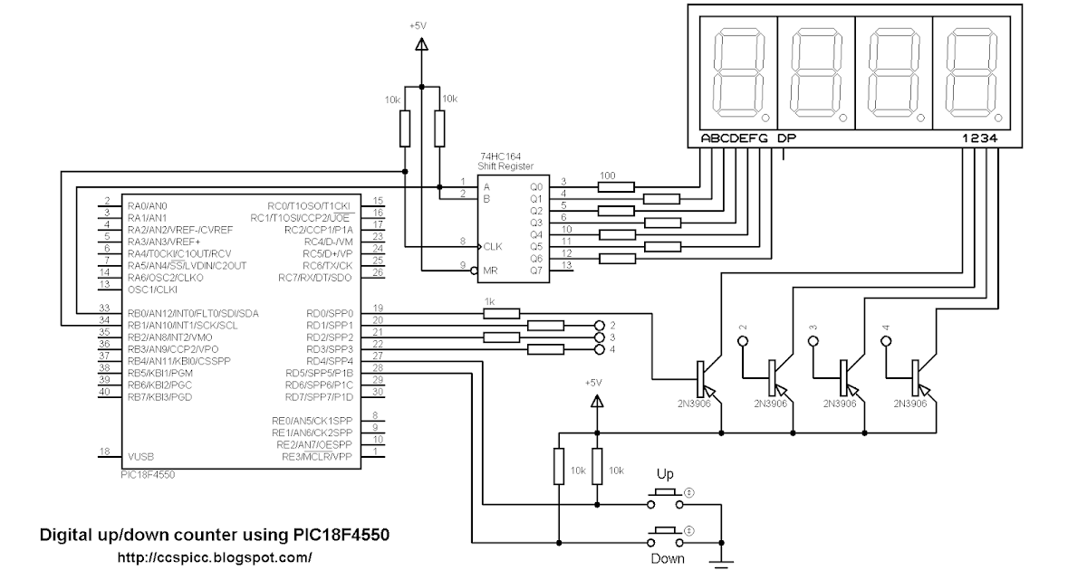 Multiplexing 7-segment display with shift register