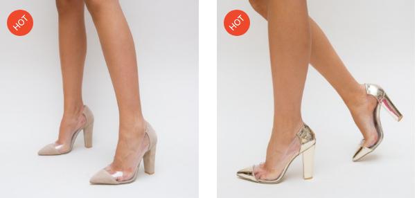 Pantofi cu silicon transparent eleganti bej, aurii de ocazii