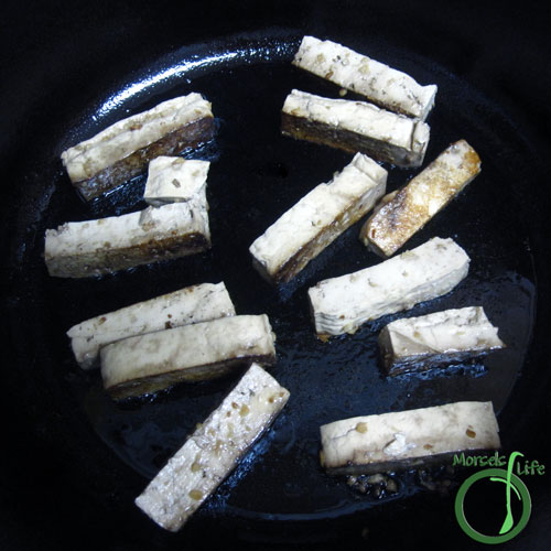Morsels of Life - Ginger Tofu Step 3 - Pan fry tofu sticks until outside crispy.
