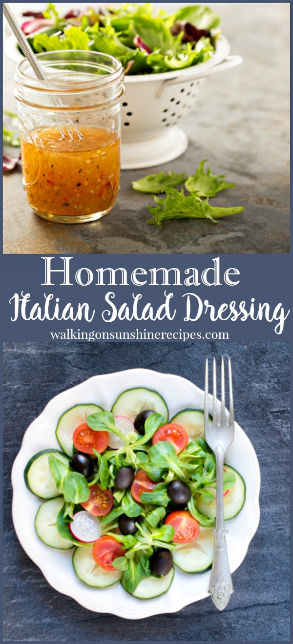 An easy recipe for Italian Salad Dressing from Walking on Sunshine.