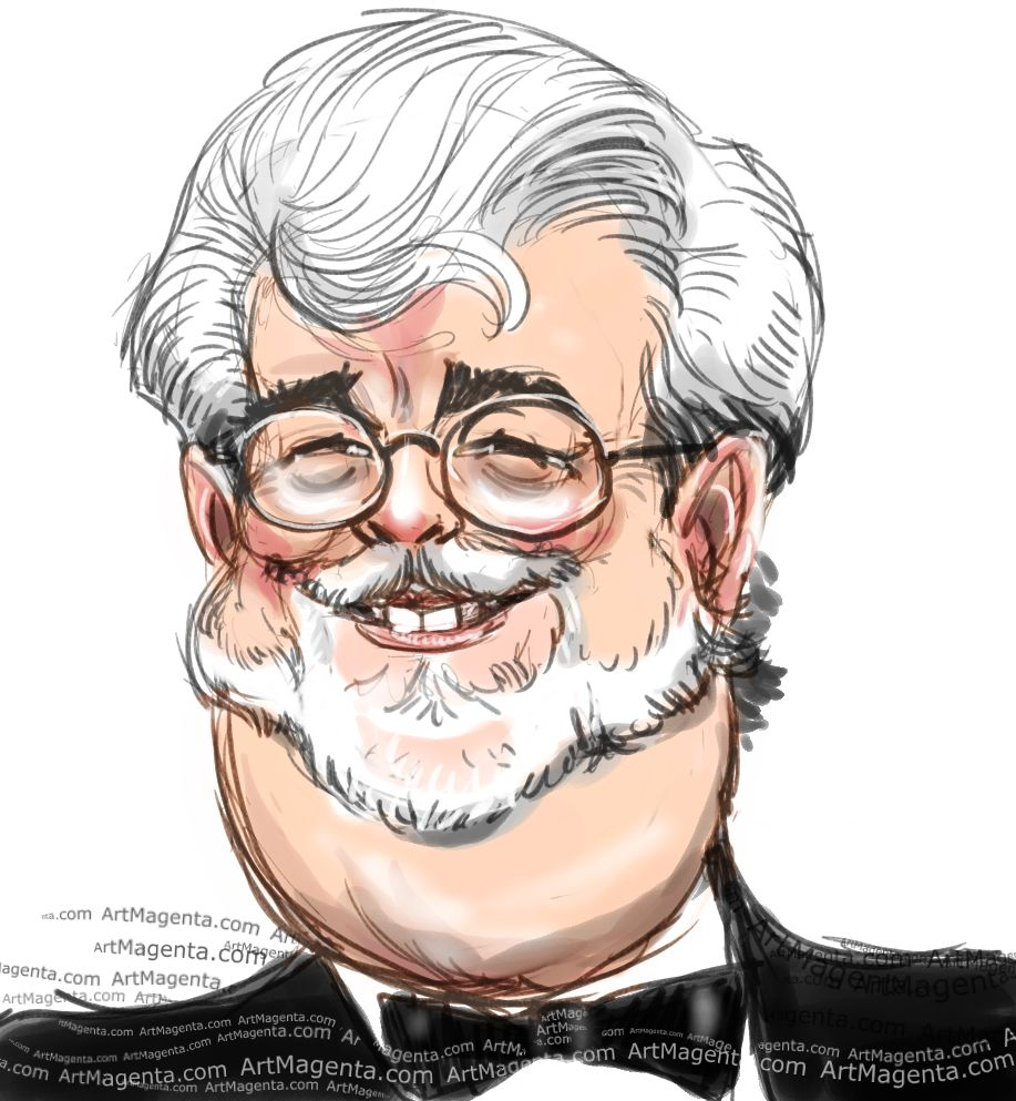 George Lucas caricature cartoon. Portrait drawing by caricaturist Artmagenta