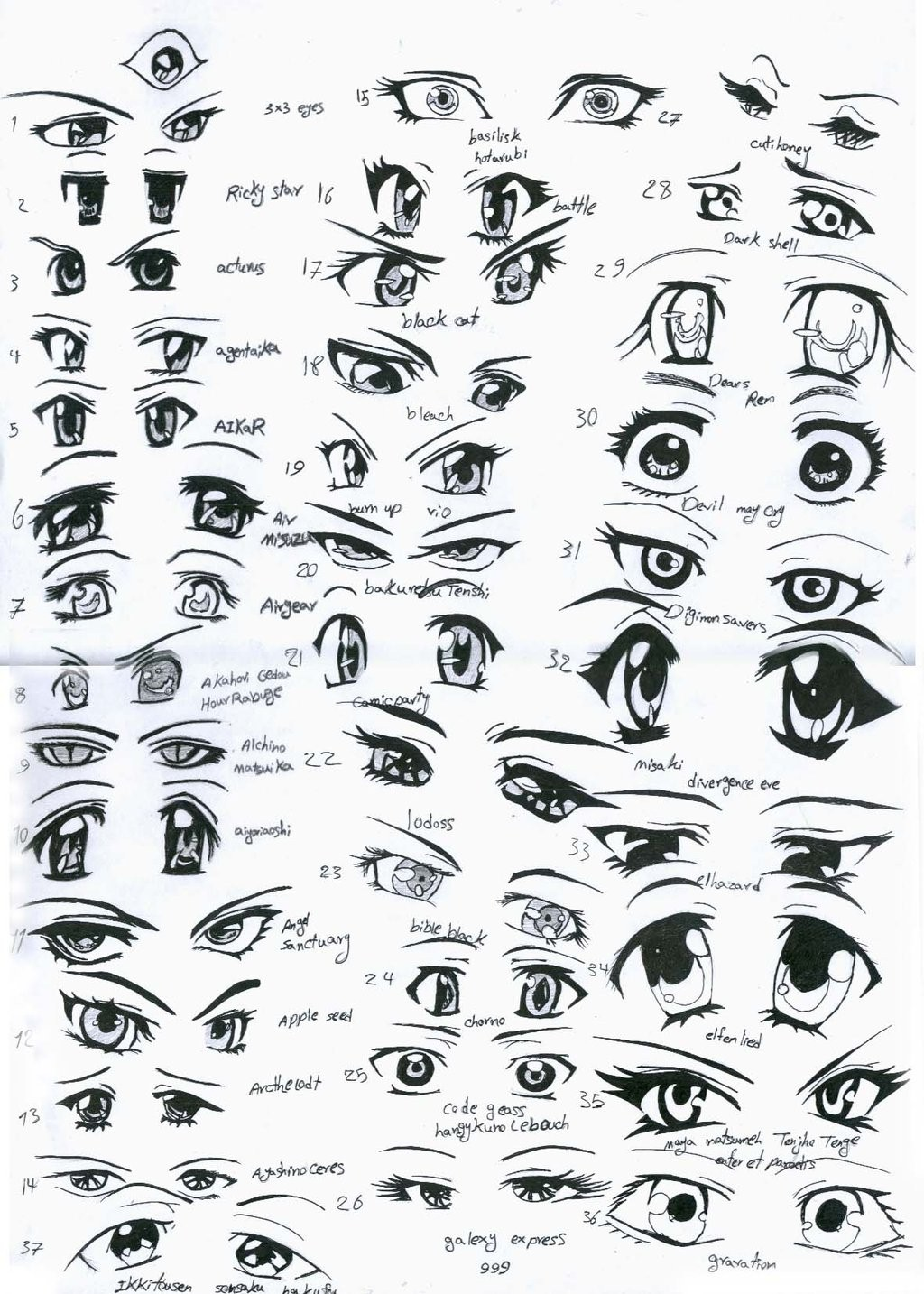 Anime sketches eyes