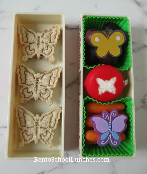 Butterfly stamped sandwiches lunch