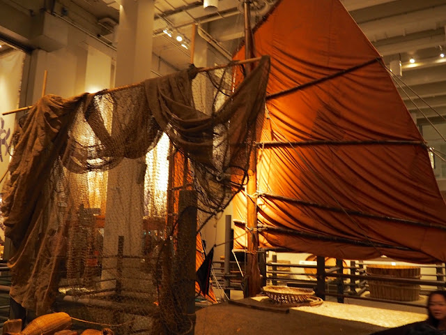 Traditional fishing boat replica on display in the Hong Kong Museum of History