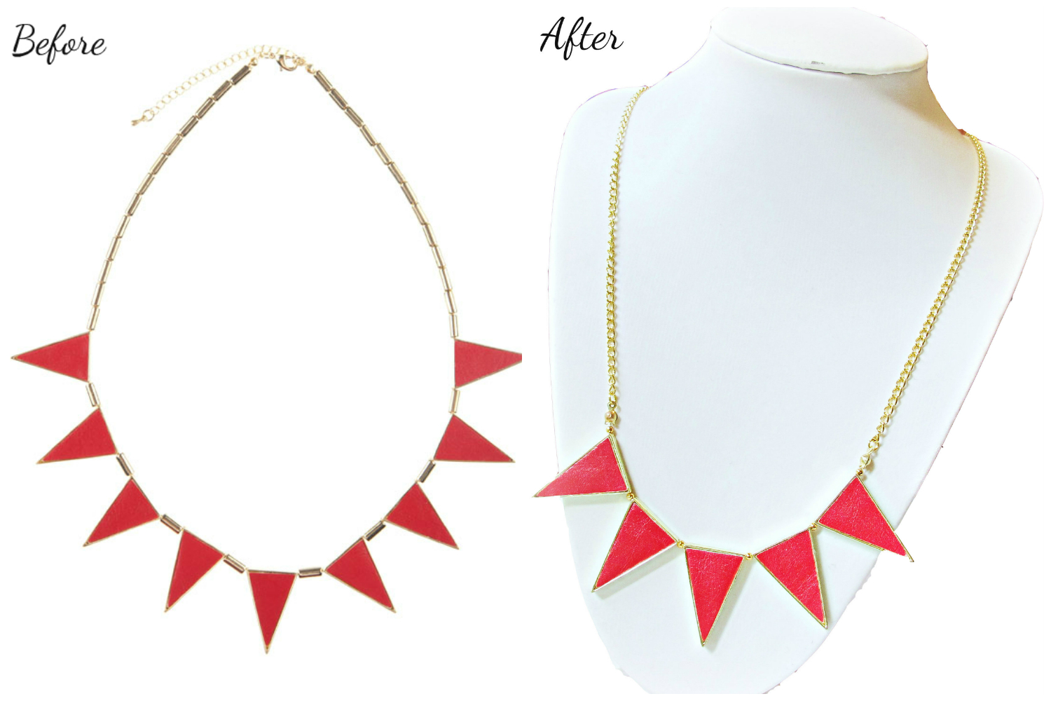 image tutorial diy necklace remake refashion before and after
