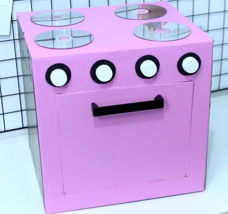como hacer una cocina para nios reciclando cajas