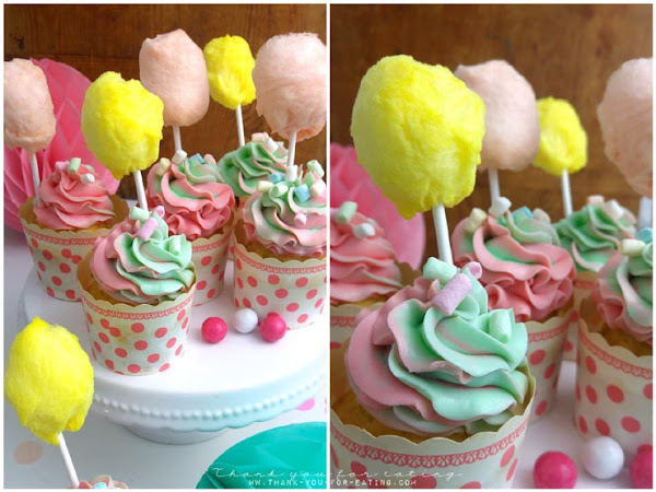 Zuckerwatte-Cupcakes - Zuckersüß und superbunt!