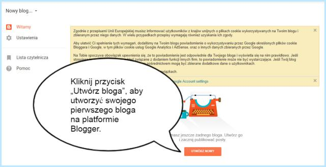 Stworzenie bloga na platformie Blogger.