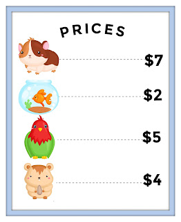 pet shop dramatic play printables