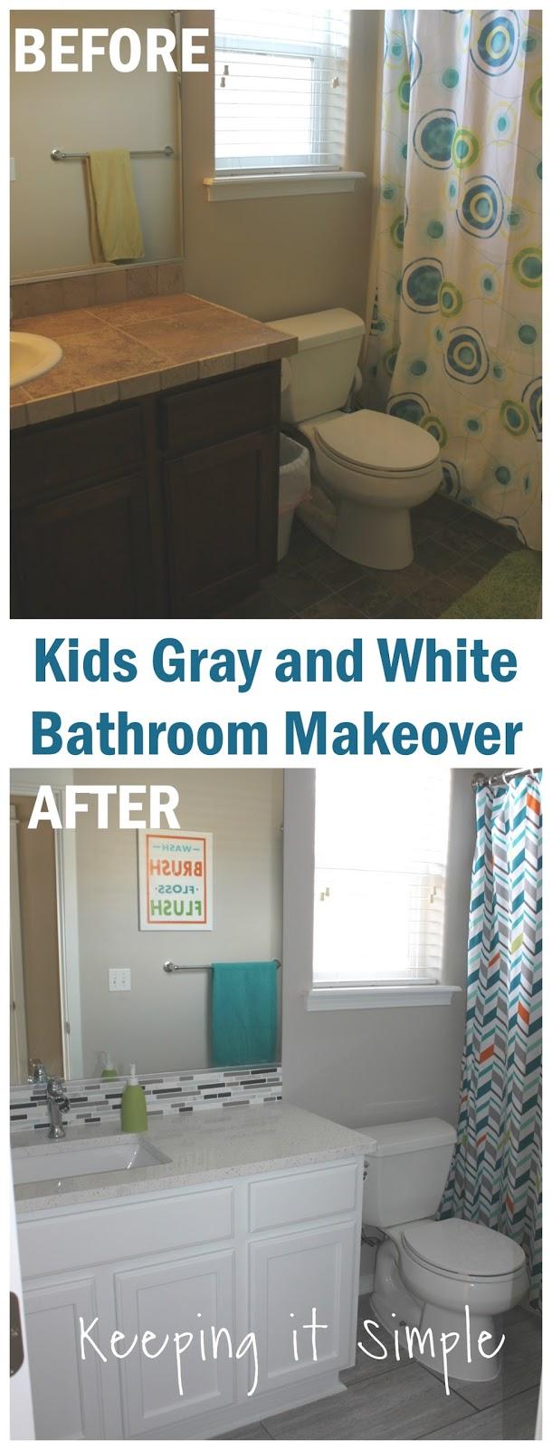 Keeping it simple kids gray and white bathroom makeover - Simple kids bathroom ...
