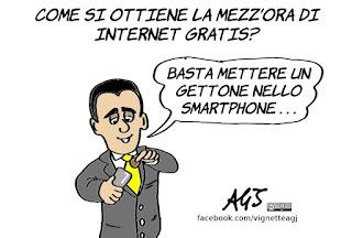 di maio, internet gratis, mezz'ora, digital divide, umorismo, vignetta, satira