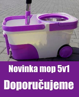 Rotační mop na kolečkách 5v1 fialový