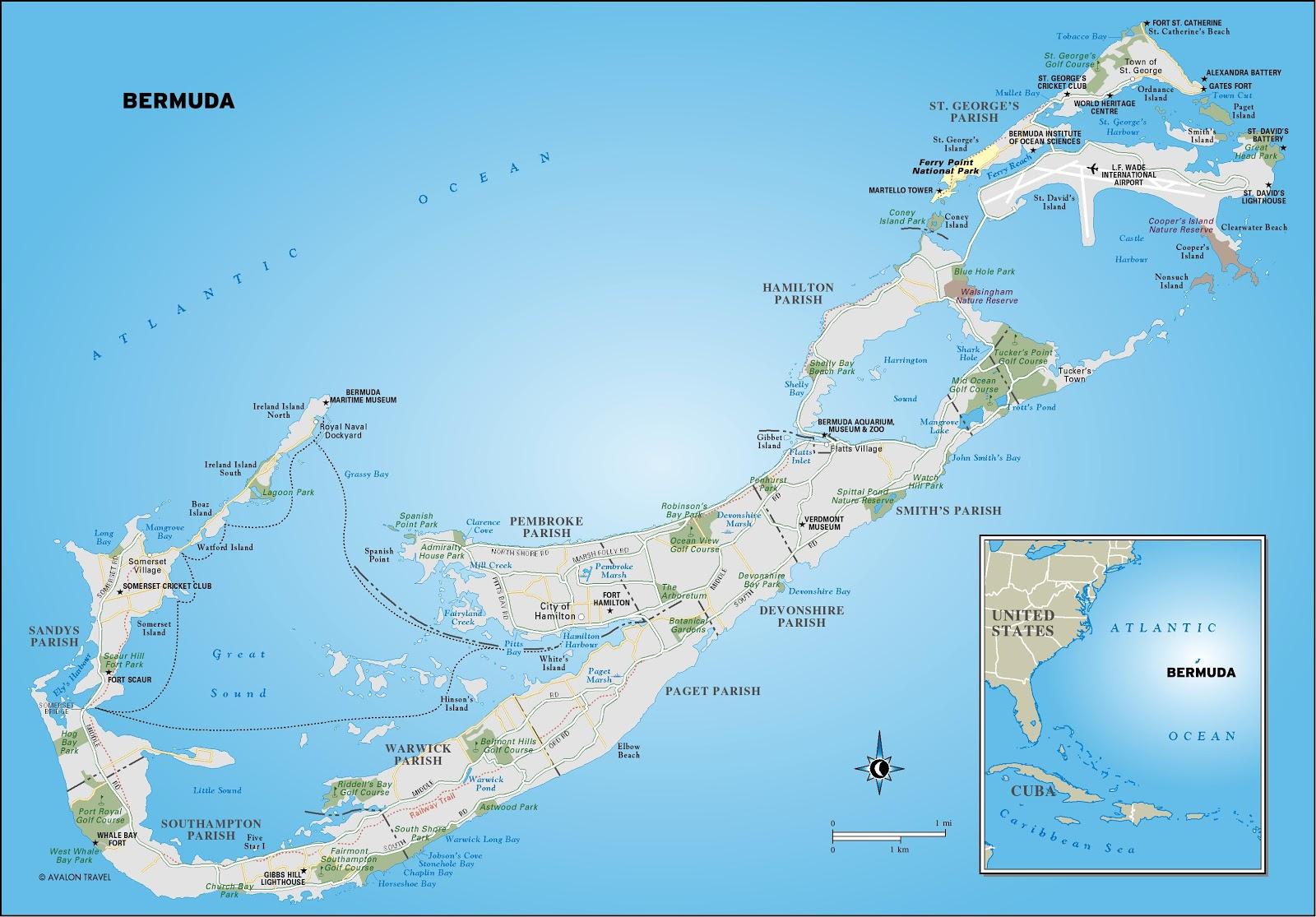 Mapas Ilhas Bermudas | Reino Unido