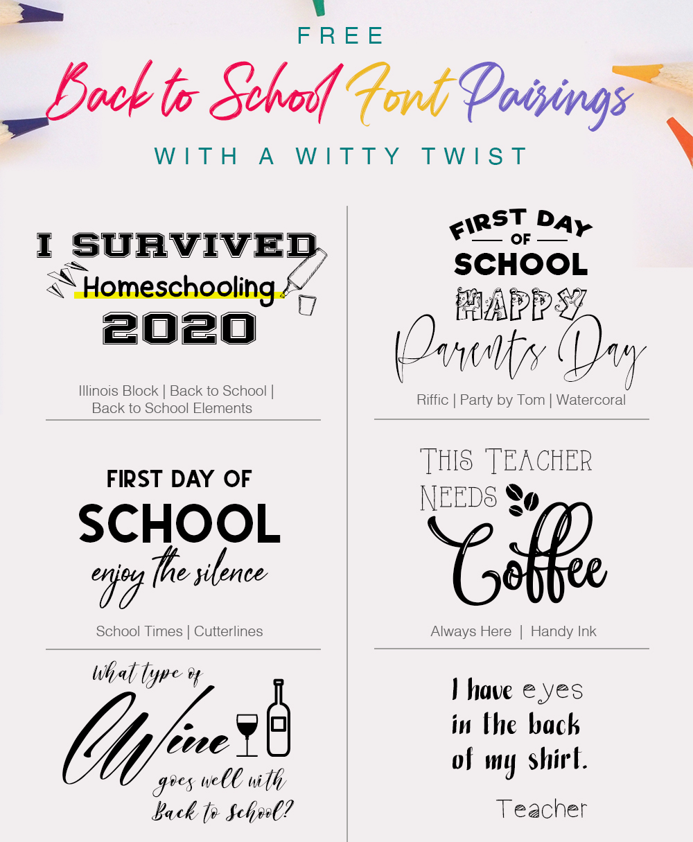 Free Back to School Font Pairings