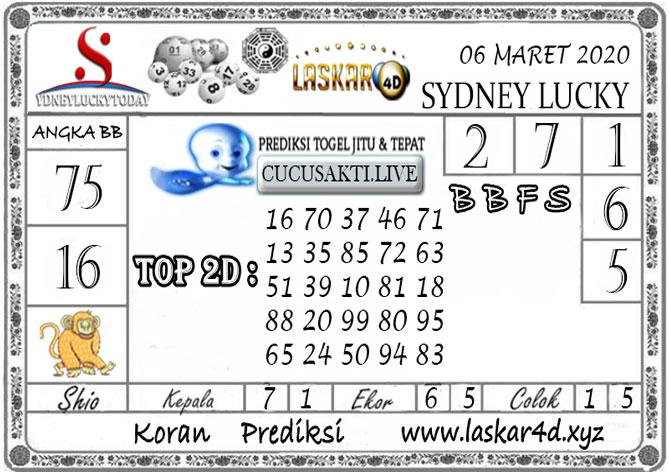 Prediksi Sydney Lucky Today LASKAR4D 06 MARET 2020