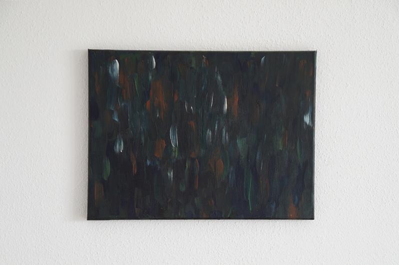 Abstrakte Malerei Acryl auf Leinwand dunkel Pinselstriche