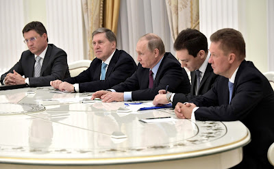 Vladimir Putin during a meeting with CEO of Royal Dutch Shell Ben van Beurden.