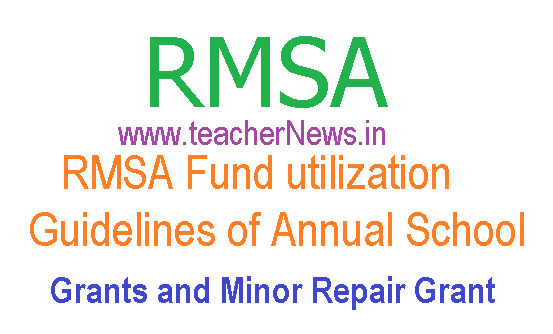RMSA Fund utilization guidelines of Annual School Grants and Minor Repair Grant 2015-16