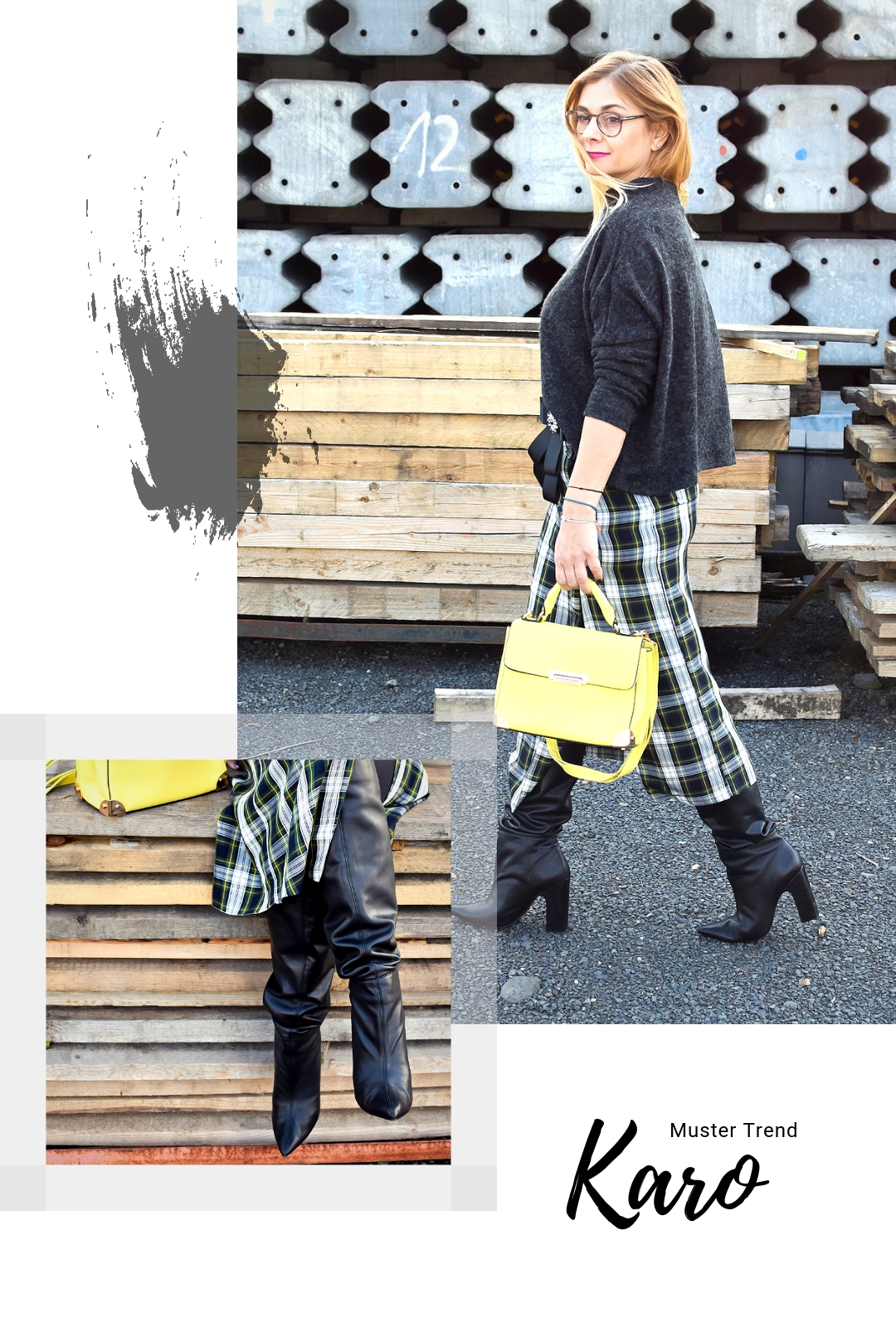 schwarze, weite Schaftstiefel, gelbe Tasche