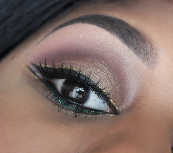 glitter makeup black stila eye liner and urban decay liner