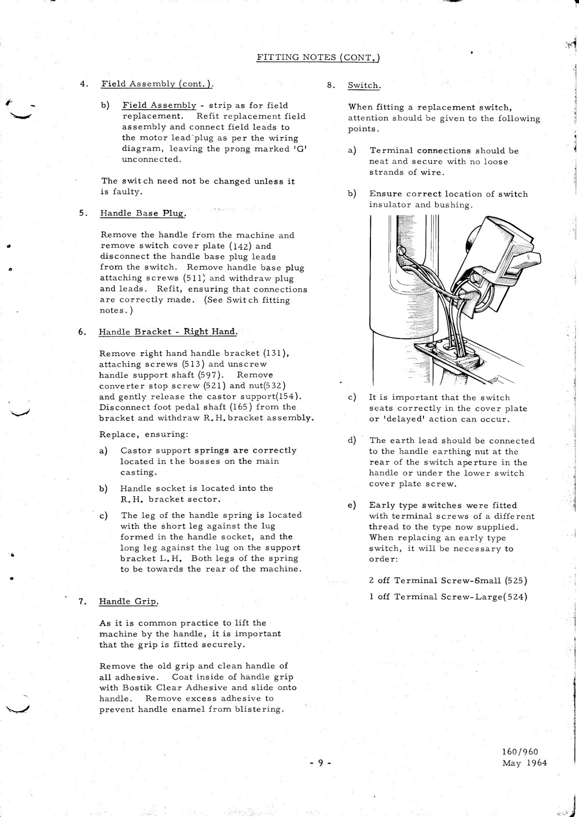 0009 hoover 160 & 190 service manual parts list henry hoover wiring diagram at n-0.co