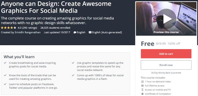 [100% Off] Anyone can Design: Create Awesome Graphics For Social Media| Worth 19,99$
