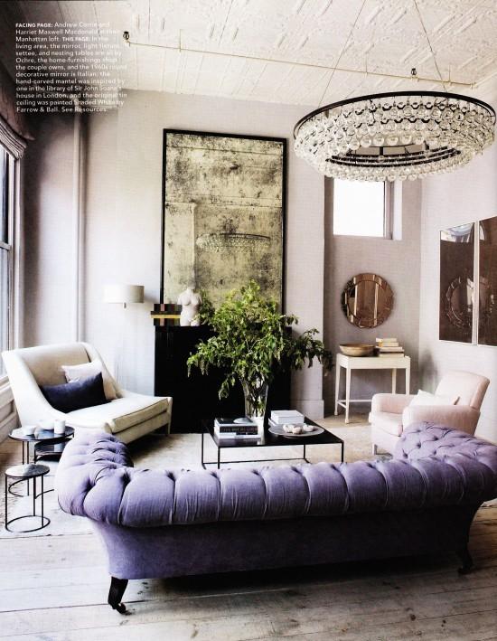 The Peak of Très Chic: Needing, Wanting, Loving: A Purple Sofa