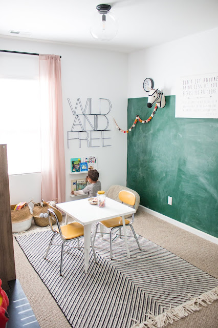 Valspar the perfect white and Rustoleum Green chalkboard paint in a playroom