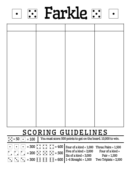 Exceptional image throughout printable farkle score sheets
