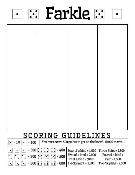 Irresistible image within printable farkle score sheets
