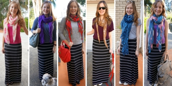 print mixing: striped maxi skirt and patterned scarves | AwayFromBlue