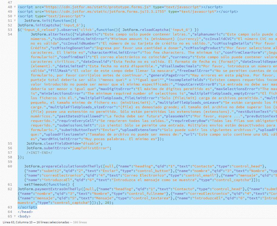 jotform insertar codigo fuente cdn